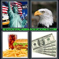 4 Fotos 1 Palabra - 4 Letras: Estatua De La Libertad Aguila, Estatua De La Libertad Y Bandera Estadounidense, Cabeza De Águila, Hamburguesa Con Patatas Y Refresco, Dólares. |