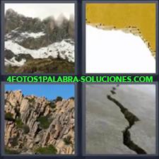 4 Fotos 1 Palabra - Cartón roto Montaña con acantilado Montaña con nieve Roca rota |