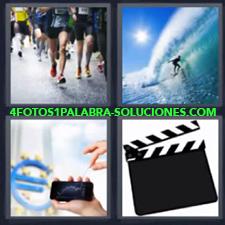Personas corriendo maratón, Surf en el mar, Euro, Teléfono celular, Claqueta de cine