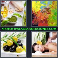 Aceites de cocina, Pinturas de colores, Aceitunas, Oliva, Mujer recibiendo masajes |