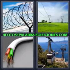 4 Fotos 1 Palabra - cable alambrada Cableado de alta tensión Cables Teleférico o Telecabina |