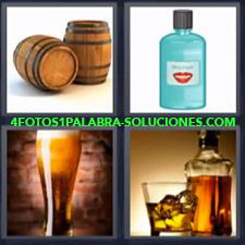 4 Fotos 1 Palabra - barriles cerveza Botella de enjuague bucal Vaso de cerveza o caña Whisky |
