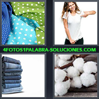Pañuelos a lunares blanco, Mujer con remera o camiseta blanca, Pila de jeans, Bolas de algodón