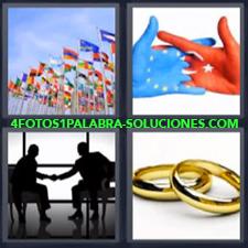 4 Fotos 1 Palabra - banderas anillos Dos manos con banderas Dos señores dándose la mano |
