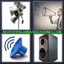 4 Fotos 1 Palabra - Amplificación del sonido Bocinas Volumen alto |