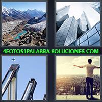 4 Fotos 1 Palabra - Montañas, Rascacielos |
