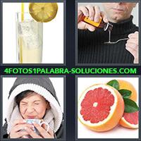 Vaso con limonada y hielo, Hombre sirviendo remedio, medicina o jarabe en cuchara, Pomelo,