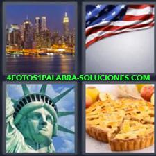 4 Fotos 1 Palabra - Nueva York Bandera de Estados Unidos Bizcocho o panqueque Ciudad iluminada New York Estatua de la libertad |