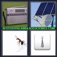 4 fotos 1 Palabra - 6 letras: radio Hormiga Placa solar Torre emitiendo |
