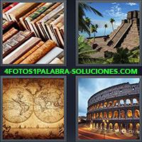 Libros, Ruinas Mayas o Aztecas, Mapamundi, Coliseo Romano