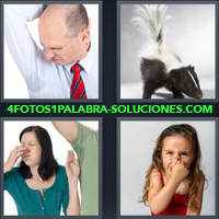 Hombre oliendo axila o sobaco, Zorrino, Mujer tapándose la nariz, Niña cubriéndose la nariz |