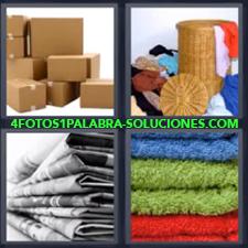 4 fotos 1 Palabra - 6 letras: cajas de carton Cestas de ropa Manteles Toallas |