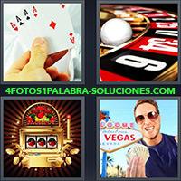 Póker de ases, Ruleta de casino, Tragamonedas o tragaperras, Hombre en Las Vegas