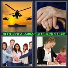 4 Fotos 1 Palabra - Helicopteros Atardecer Maestra O Mama Ayudando Tareas Niño Mano Sobre Mano |