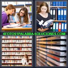 4 Fotos 1 Palabra - Chicas estudiando Cintas de video Mujer leyendo carpeta Señorita en biblioteca |