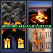 4 Fotos 1 Palabra - Incendio O Incendios Casa Incendiada Fabrica Quemándose Piso O Departamento Quemándose |
