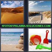 Desierto, Camino en la Playa, Muñeco de Arena sobre la playa, Balde, Cubeta, Palita, Juguetes |