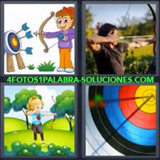 4 Fotos 1 Palabra - Chico tirando con arco Dibujo niña con arco Dibujo niño con arco Flechas en el centro de la diana |