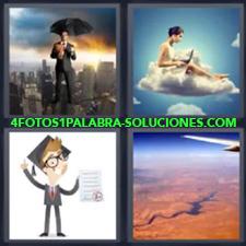 4 fotos 1 Palabra - 6 letras: hombre traje paraguas ciudad Dibujo o caricatura Mujer en una nube Vista desde el avion |
