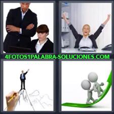 4 Fotos 1 Palabra - Dibujo de ejecutivo en la cima de una montaña Dibujo muñequitos subiendo flecha Jefe y secretaria trabajando Señorita en oficina con brazos en alto |