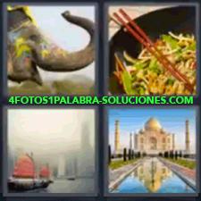 4 Fotos 1 Palabra - 4 Letras: Elefante Comida, Elefante Con Colores En La Cara, Comida Oriental, Barco Con Velas Rojizas, Taj Mahal. |
