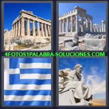 4 fotos 1 Palabra - 6 letras: ruinas griegas Bandera blanca y azul Grecia Estatua |