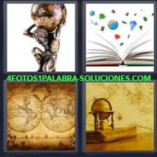 4 Fotos 1 Palabra - Estatua Hombre Con Bola Del Mundo Bola Del Mundo Antigua Libro Abierto Con Figuras Mapa Mundi |