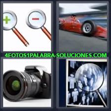 4 Fotos 1 Palabra - cámara fotográfica Coche de carreras Lupa Símbolos mas y menos |
