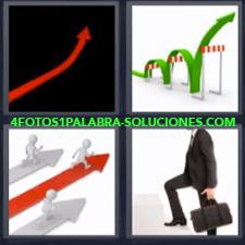 4 Fotos 1 Palabra - flecha roja Ejecutivo subiendo escaleras Flecha verde saltando obstáculos |