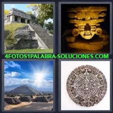 Pirámide Maya o Azteca, Estatua de una cabeza de piedra, , Pirámide y cielo sol, Calendario