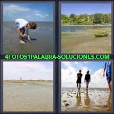 4 Fotos 1 Palabra - Barca sobre la arena de la playa Gente caminando sobre arena mojada Mar Niño cogiendo cosas en el mar |