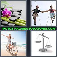 Cañas de bambú con piedras y una flor, Pareja sobre cuerda, Mujer en bicicleta, Balanza
