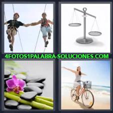 4 Fotos 1 Palabra - pareja haciendo equilibrio Balanza metálica Chica en bicicleta Pareja caminando sobre cuerda Piedras y bambú |