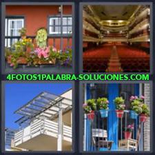 4 fotos 1 Palabra - 6 letras: terraza Gradas teatro Macetas plantas en terraza |