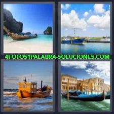 4 Fotos 1 Palabra - barca en la playa góndola Barcas de pescadores Barcos Góndola |