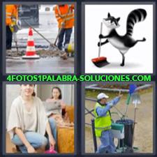 4 fotos 1 Palabra - 6 letras: limpiando Barrendero Dibujo de gato limpiando Obra en la calle |