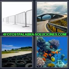 4 Fotos 1 Palabra - Corales en el mar Neumáticos en circuito Topes o quitamiedos en carretera Vallas |