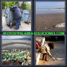 4 fotos 1 Palabra - 6 letras: soluciones Contaminacion Mendigo o indigente Niña pobre Pez muerto |