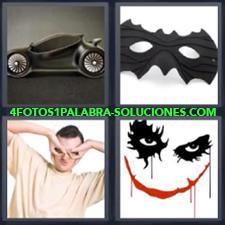 4 fotos 1 Palabra - 6 letras: coche negro y antifaz Dibujo ojos negros boca roja Hombre haciendo antifaz con las manos |