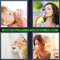 4 Fotos 1 Palabra - Bebé tomando su biberón |