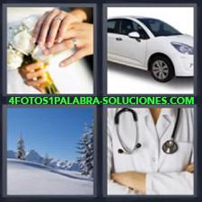 4 fotos 1 Palabra - 6 letras: recien casados dedos y ramo de boda Coche o auto Nieve Ropa doctor y estetoscopio |