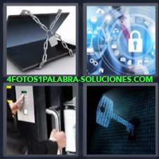 4 Fotos 1 Palabra - laptop con cadena Persona pulsando código para abrir puerta Símbolos con candado |