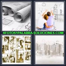 Rollos de papel o planos, Pareja imaginando decoración, Cómic, Dibujo de una ciudad.