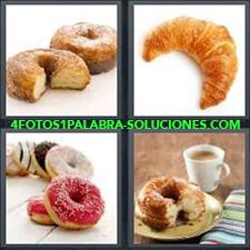 4 Fotos 1 Palabra - Bollo Con Café Croissant O Cruasán Cuerno Donas Donas De Colores Donuts Pan De Dulce |