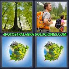 4 fotos 1 Palabra - 6 letras: arboles Medio ambiente en la Tierra Pareja paseando en la naturaleza Planeta verde |