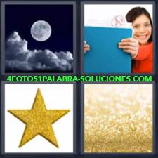 4 Fotos 1 Palabra - luna estrella Color dorado Niña con buenas notas en los exámenes |