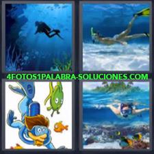 4 fotos 1 Palabra - 6 letras: Hacer esnorkel Nadar en el agua |
