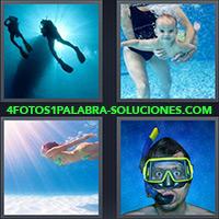 4 Fotos 1 Palabra - Dos personas practicando buceo |