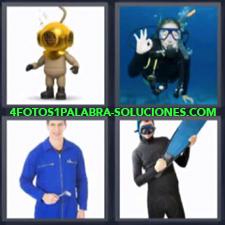 4 Fotos 1 Palabra - 4 Letras: Dibujo Escafandra Antigua, Haciendo Submarinismo, Vestido Con Neopreno Y Aletas En La Mano |