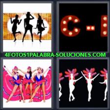 4 Fotos 1 Palabra - Chicas con ropa rosa bailando Dibujo de bailarinas Dibujo de bailarinas parece carnaval Letrero de neón con una C |